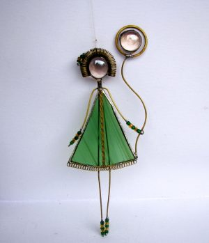 Devojčica sa balonom-zelena- suncatcher