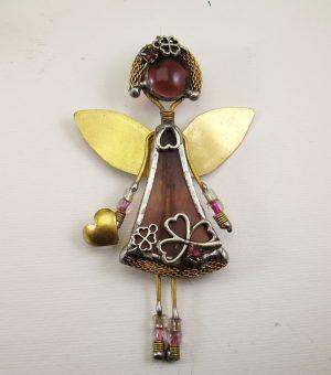Anđeo broš -patlidžan ljubičasta