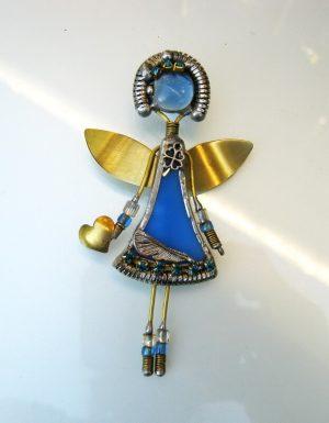 Anđeo broš – plava