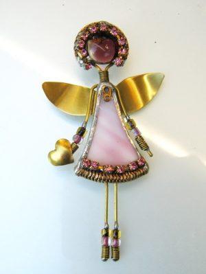 Anđeo broš -roza