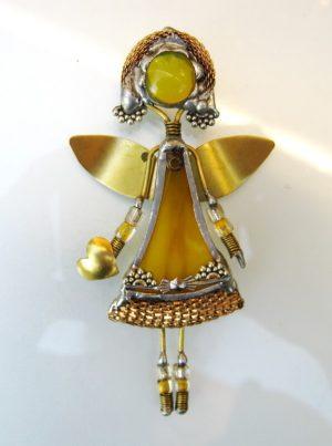 Anđeo broš – žuta