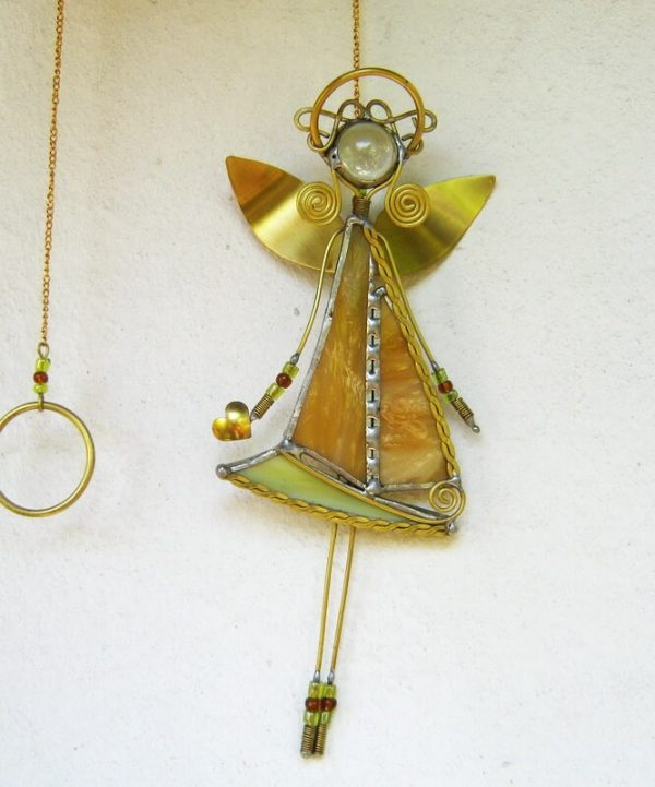 staklene iskre anđeo ukras za prozor vitraž