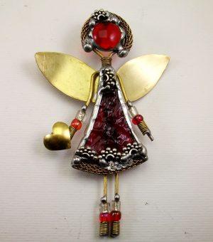 Anđeo broš – ogrlica crvena