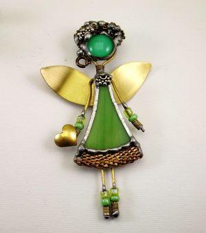 Anđeo broš – ogrlica zelena