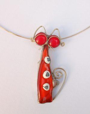 Mačka ogrlica crvena
