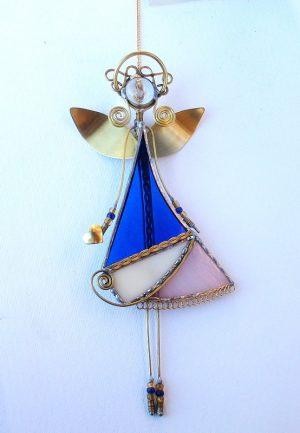 Anđeo-ukras za prozor- Roza i plava