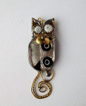 Mačka miks srebrna – broš