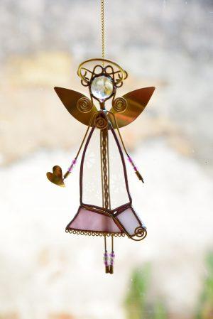 Anđeo,ukras za prozor-  roza