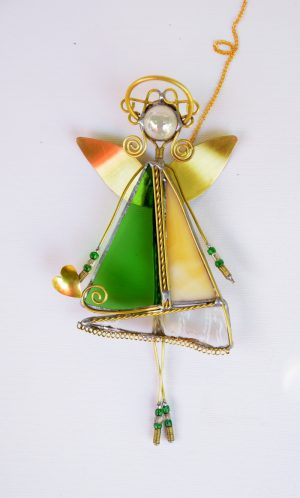 Anđeo-ukras za prozor- zelena-krem