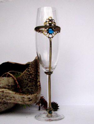 čaše za penušava vina i šampanjac tirkiz