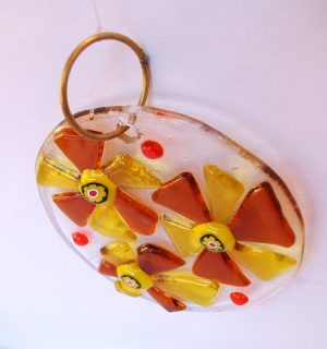 Stakleni ukras- Žuta-ćilibar