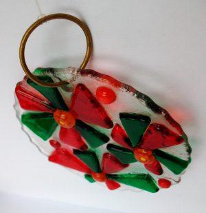 Stakleni ukras crvena-zelena