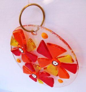 Stakleni ukras-narandžasta,žuta,crvena
