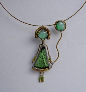 Devojčica sa balonom ogrlica metalik zelena