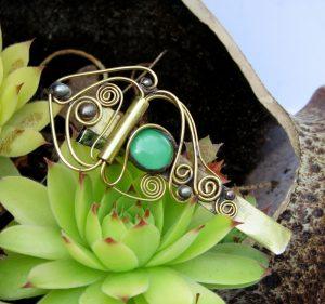 Šnala-štipaljka za kosu rozedo zelena
