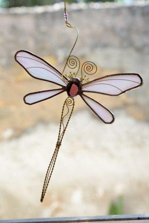 Vilin konjic -suncatcher metalik roza