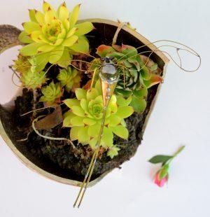 Tiski cvet-ukras za zid,metalika siva