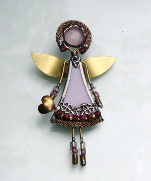 Anđeo broš – ogrlica roza