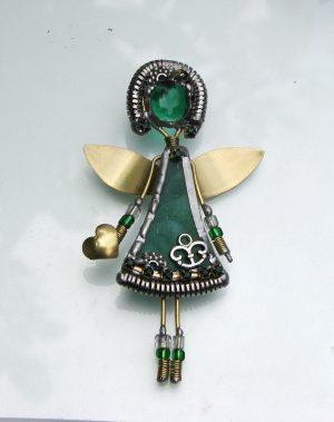 Anđeo broš zelena